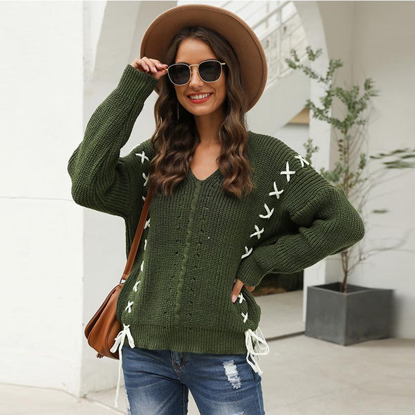 V-neck drawstring cable knit sweaters