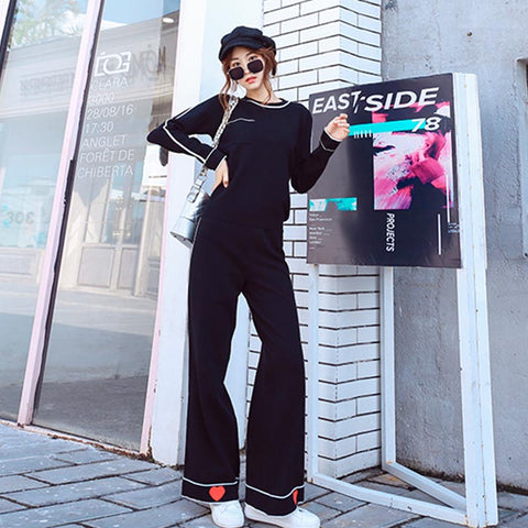 Crew neck hit color sweater pant suits