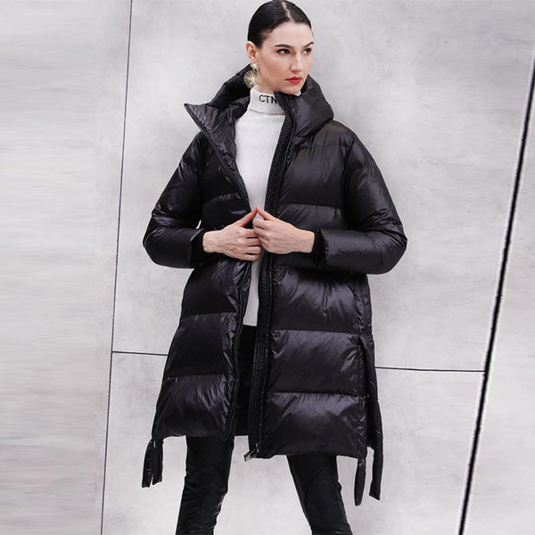 Stand collar hooded slit puffer coats