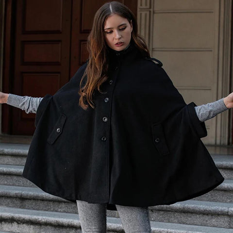 Turtleneck single-breasted woolen Ponchos