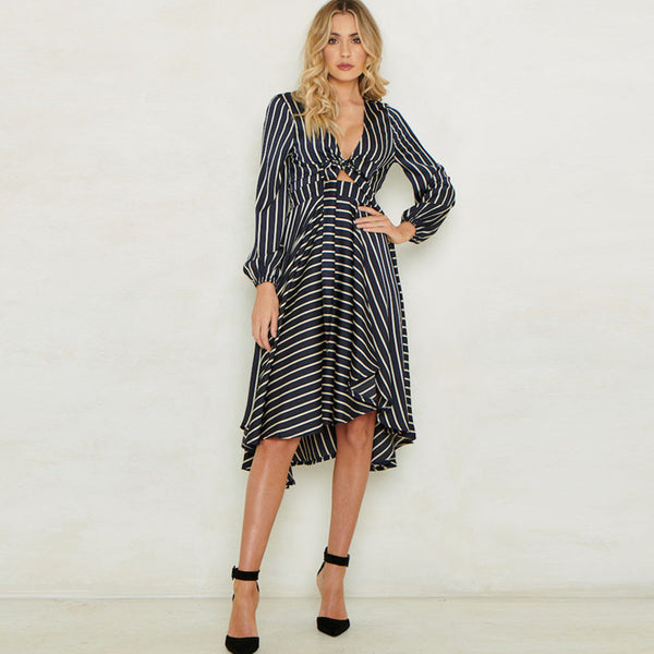 Striped v-neck tied high-low dresses - Fancyever