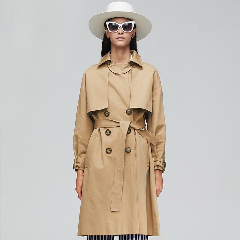 Cotton double-breasted belted trench coats - Fancyever