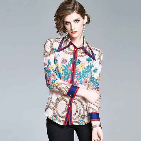 Lapel single breasted print blouses