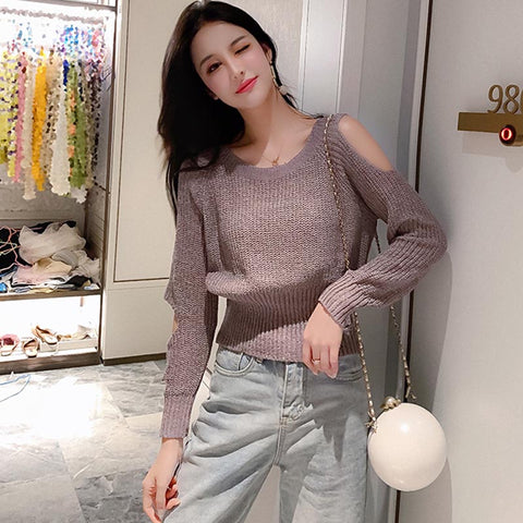 Crew neck cold shoulder sweaters