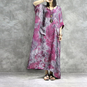 Jacquard bat sleeve loose maxi dresses - Fancyever