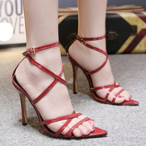 Pointed toe solid color cross straps sandals