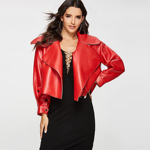 Wide lapel faux leather cropped jackets