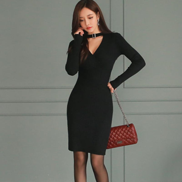 Solid color v-neck sweater dresses