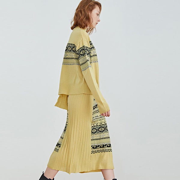 Print asymmetric sweaters & pleated skirts - Fancyever