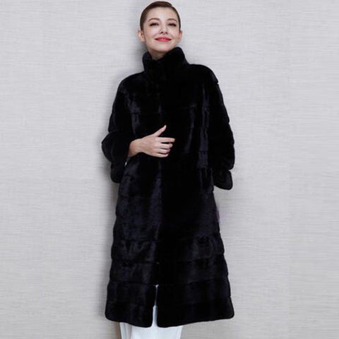 Stand collar fluffy faux fur coats