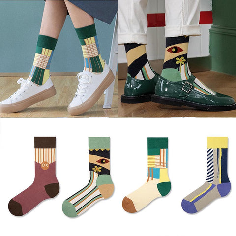 5 pairs color block mid calf socks