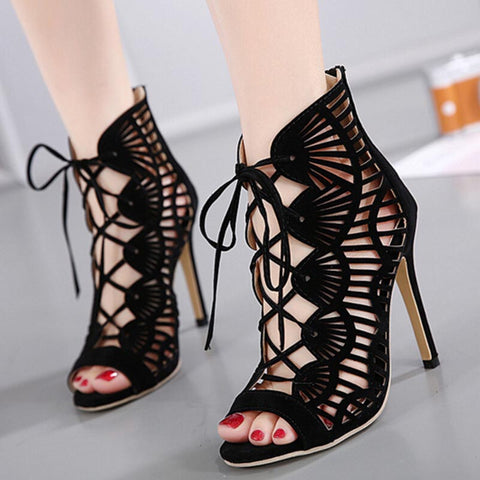 Peep toe lace up sandals