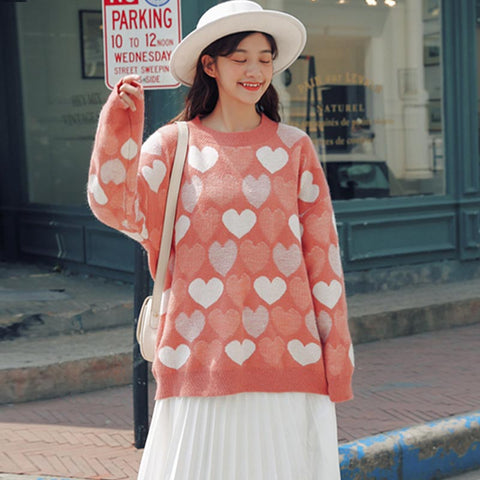 Crew neck heart pattern pullover sweaters