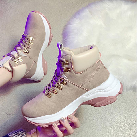 PU leather color-blocked lace-up sneakers
