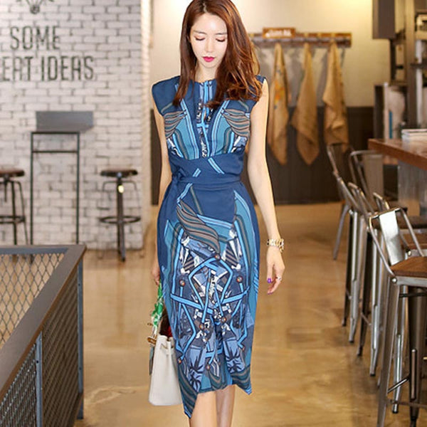 O-neck sleeveless print sheath dresses