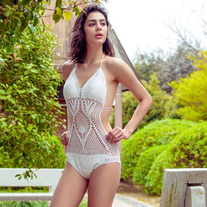 Knitted openwork halter one-piece swimwear