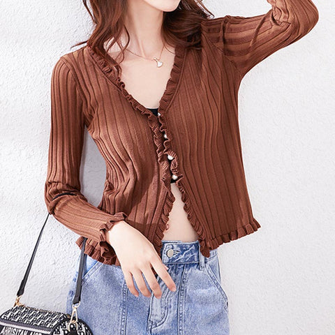 V neck ruffled solid slim pearled knit tops