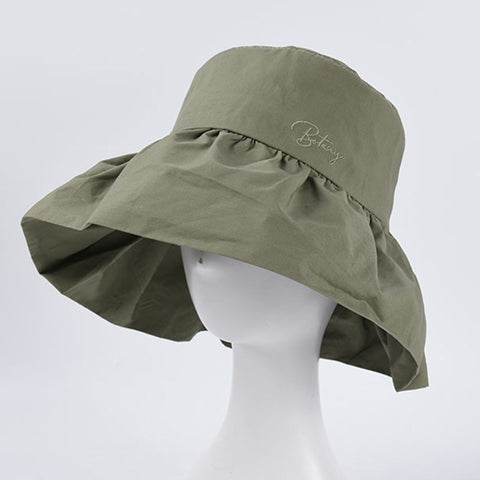 Foldable embroidered pleated wide brim hats