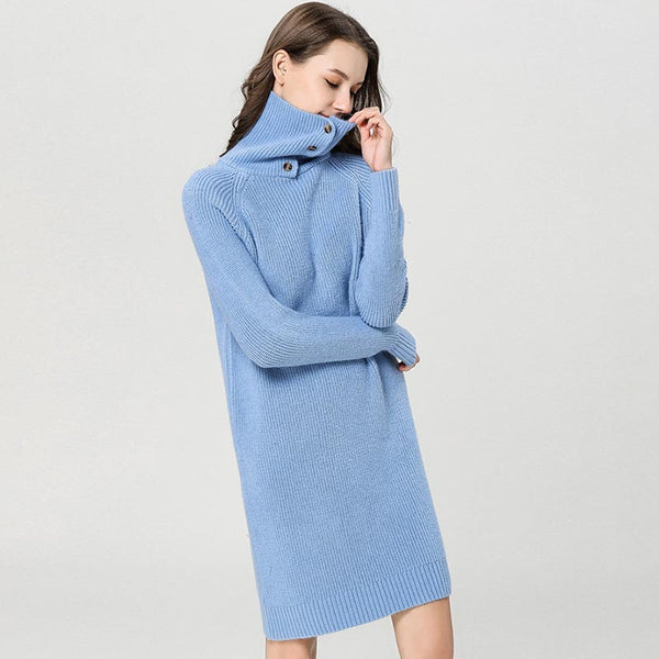 Buttoned turtleneck shift sweater dresses