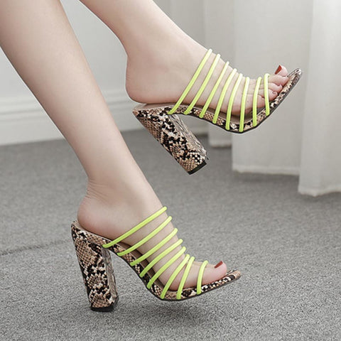 Snake print open toe slippers