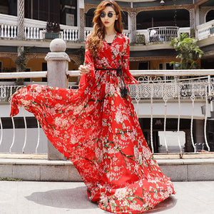 V-neck red floral wrap dresses - Fancyever