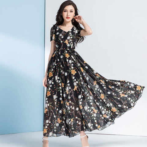 Plus size high waisted big hem floral maxi dresses