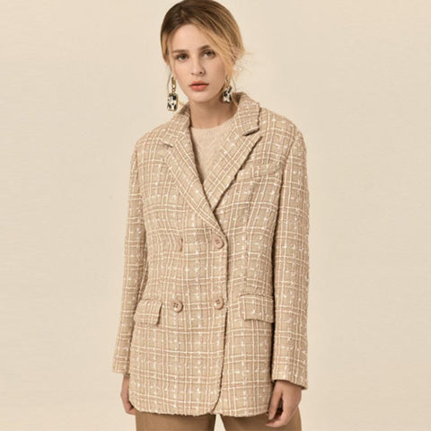 Tweed double-breasted check blazers - Fancyever