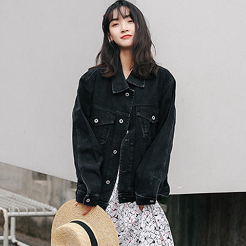 Turn-down collar denim loose jackets