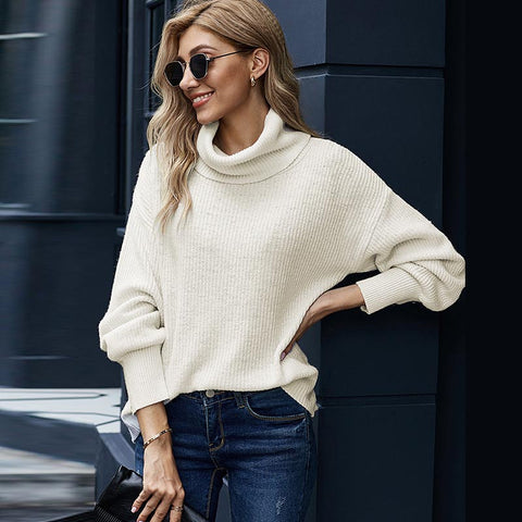 Turtleneck solid versatile basic loose sweaters