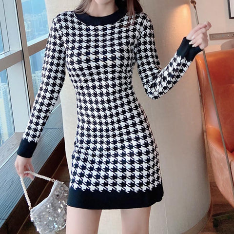 Crew neck houndstooth bodycon knitted dresess