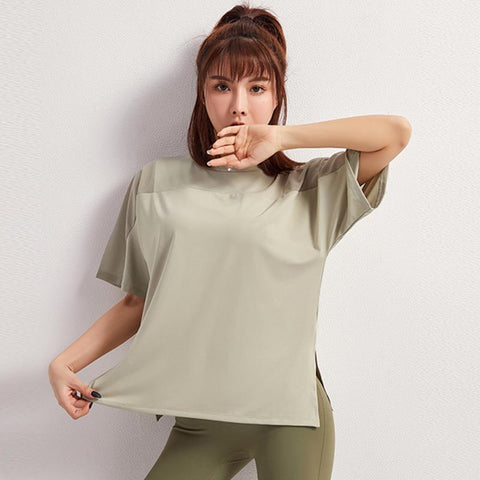 Side slit fitness active tees