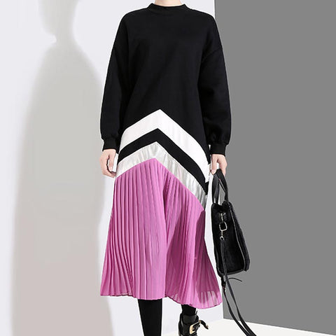 Patchwork shift pleated midi dresses