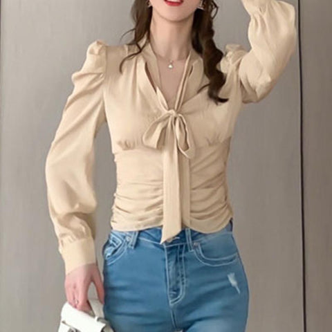 Pullover  bowknot paper waist blouses