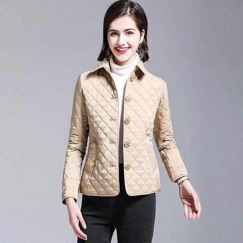 Lapel diamond quilted short coats