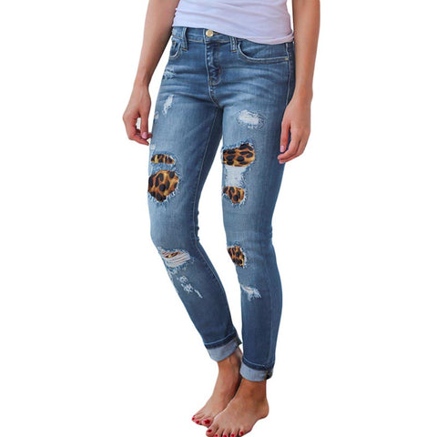 Ripped animal denim tight stretchy jean pants