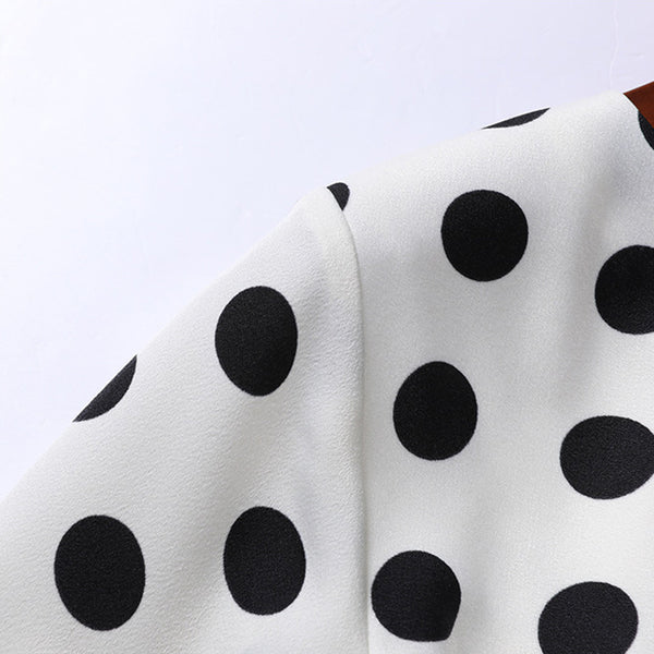 Polka dot gathered waist v-neck dresses - Fancyever