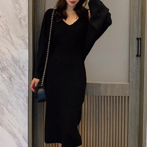 Solid v-neck bat sleeve knitted two piece dresses