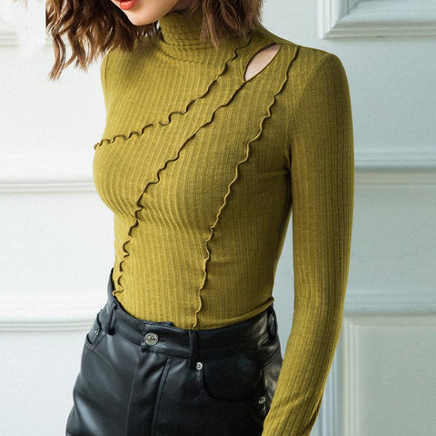Openwork turtleneck pullover slim tees