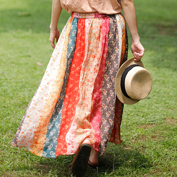 Color-blocked floral drawcord skirts