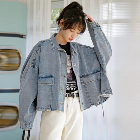 Drawcord loose cropped denim jackets