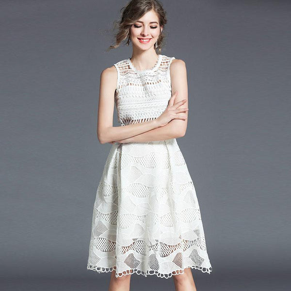Sleeveless lace hollow out skater dresses-Fancyever