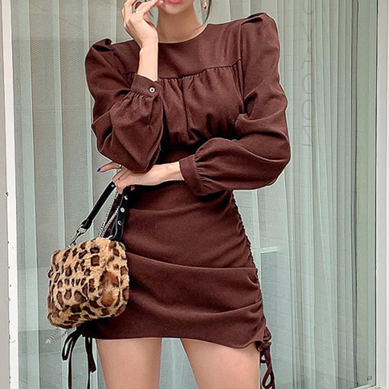 Smocked solid puff sleeve drawstring bodycon dresses
