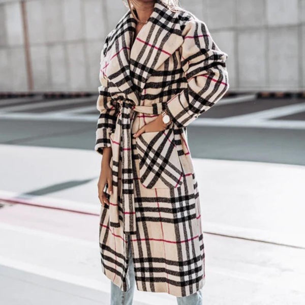Lapel printed plaid long belted coats
