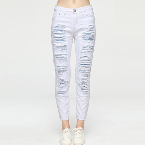 Rough selvedge ripped pencil pants