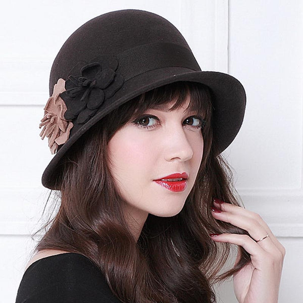 Flower fascinator trilby bowler hats