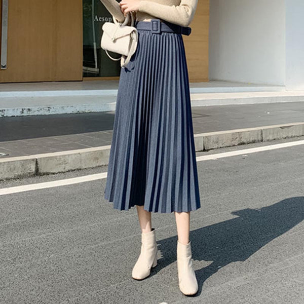 Solid pleated winter skirts
