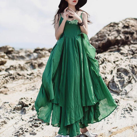 Double layer big hem sun dresses