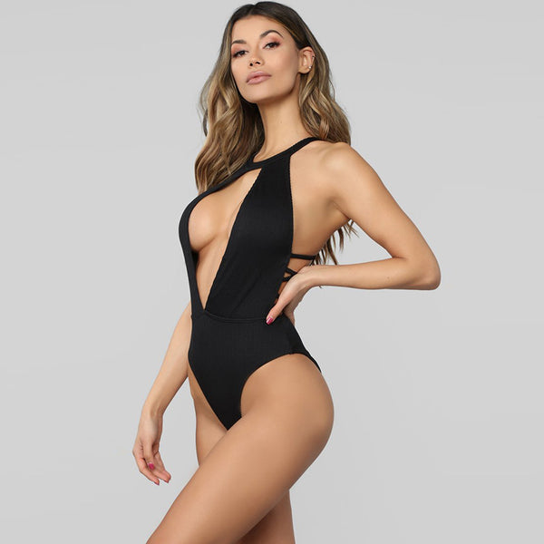 Halter cut out solid one-piece swimwear
