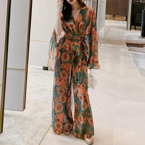 V-neck belted bohemia print pant suits