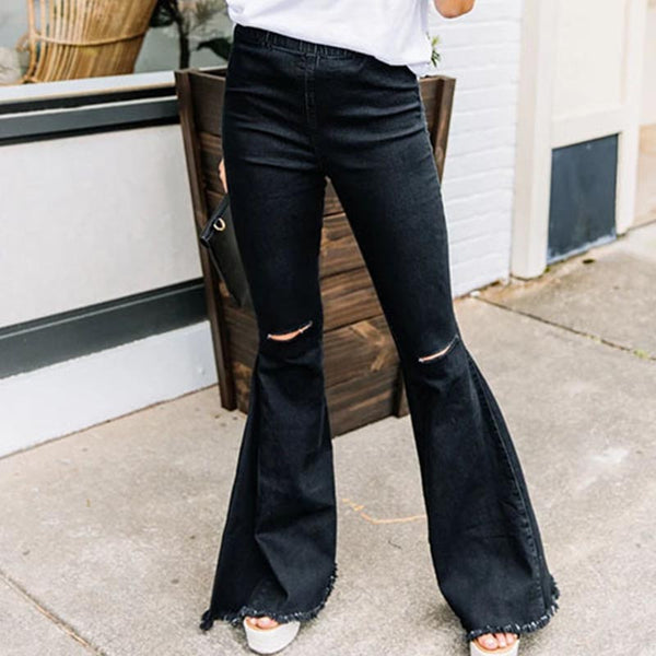 Elastic waist ripped flare pants